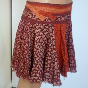Free People Mixed Floral Print Mini Skirt Size 2